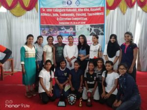 Sr. Intercollegiate competition held at Kolhapur from 25th to 27th Sept. 2018. Ms. Shweta Hakke (PG SSFN) won Athletics 100 m run 1st place, 200 m run 1st place, 400 m run 1st place, long jump 1st place, Athletics individual championship 1st place. Sejal bhanushali (FYBSc)won fencing epee event 3rd place. College got All round championship in athletics 3rd place