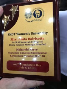 Won prize for best Non Teaching Staff in SNDT university