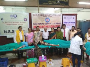 A Blood Donation Camp was organized on 29th August, 2018 in collaboration with the Sion Hospital, the NSS Unit of the Smt. M. M. P. Shah Women's College of Arts and Commerce and Lions Club of Sion .