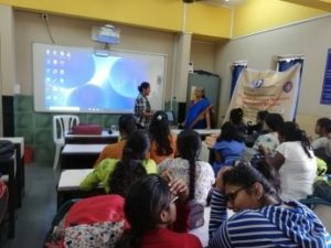 "Ms. Uma Vaidyanathan (Master Trainer, Therapist and Social Worker, Consultant) giving lecture on ""Patriarchy and Reproductive Rights of Women in India"" on 11th July'19 for TYBCA Students."
