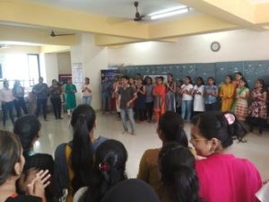 Mr. Santosh Panigrahi from Aseema (NGO) conducting Street Play Workshop for FYBCA and FYBSc Volunteers