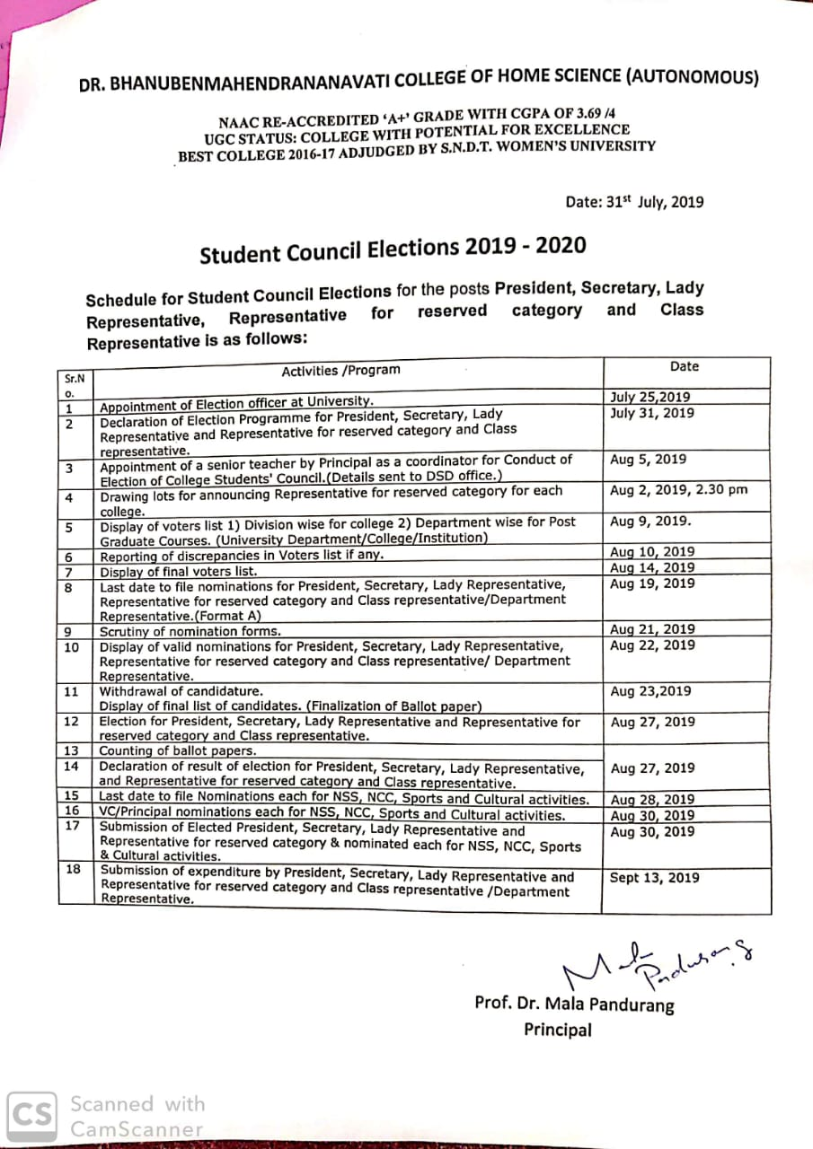 Notice for student council election 2019-20