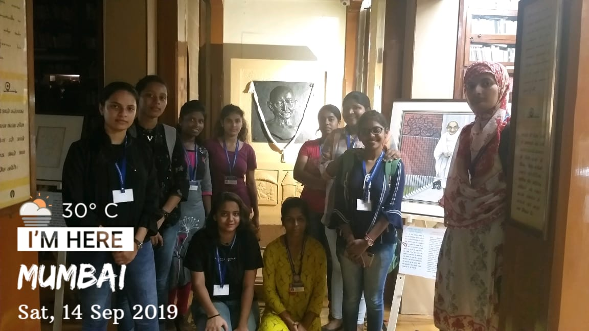 11 SYBCA students visited an art exhibition on the life and legacy of Mahatma Gandhi organized by EXIM BANK at Mani Bhavan Gandhi Sangrahalayaon 14th September 2019