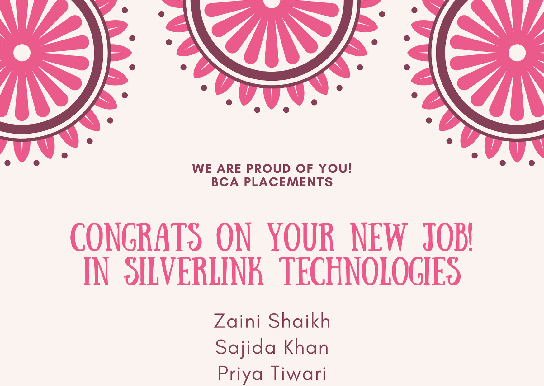 Congratulations to students for their new job in Silverlink Technologies