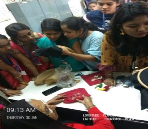Mr Naushad Khatri from Bhuj, Kutch conducted a workshop on Bandhani on 29th Jan and Ms Raniben Rabari from Bhuj Kutch conducted workshop on Rabari Embroidery on 30th Jan.