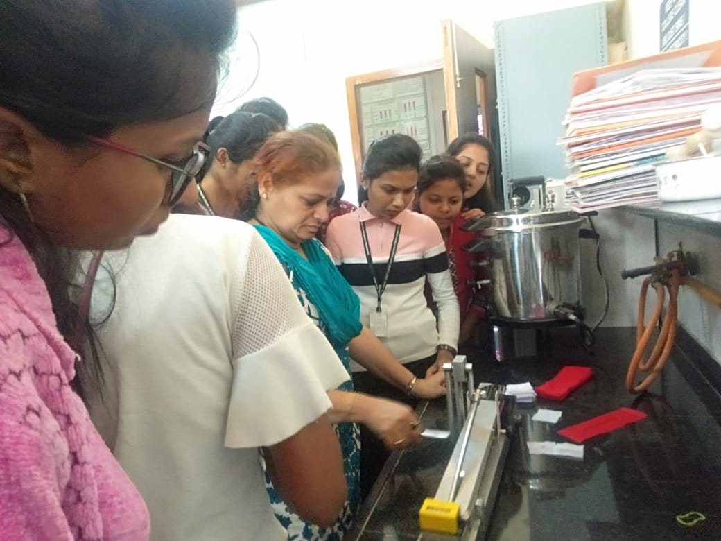 Mrs. Sugandha Lad, TSAD Department, Dr. B.N college of Home SC, Conducted Textile Testing Practicals for 22 students from Shardabaii Pawar college of Arts, Commerce & science college Baramati. To give hands on experiment.
