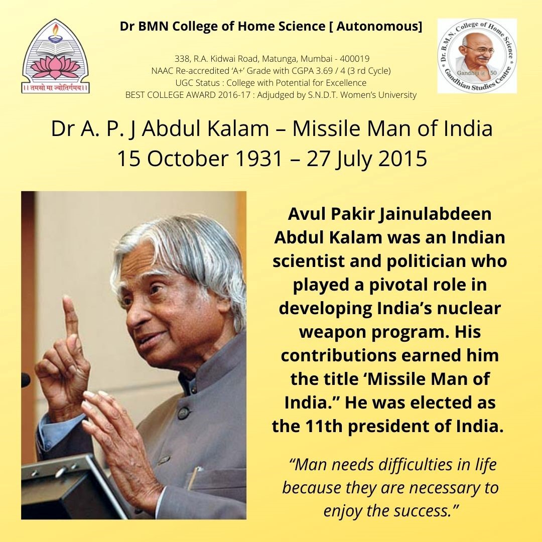 DR A P J Abdul Kalam _ Reading Inspiration Day 15th OCt 2021