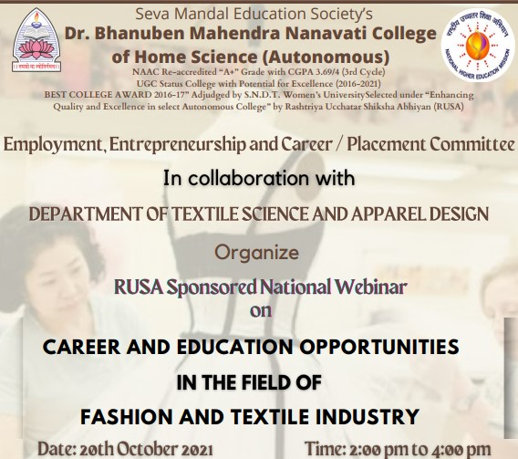National Webinar on Career and Education opportunities in Fashion and Textiles